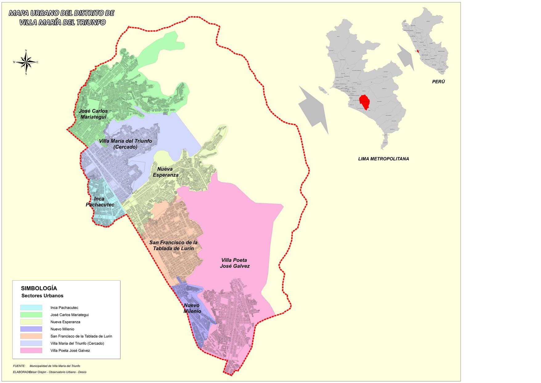 Mapa urbano de vmt observatorio urbano for Plano de villa el salvador